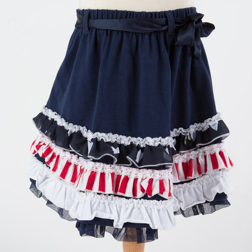 Silvian Heach Kids - Girl Dabeguby Multi Ruffle Skirt, Navy