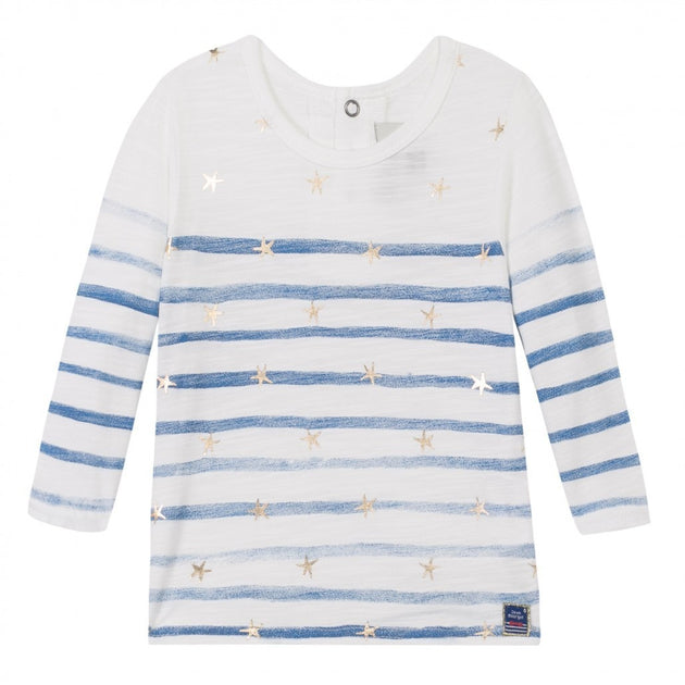 Jean Bourget - Baby Girl Tiny Fille Casual Chic Stars and Stripes Tee, White - 9M