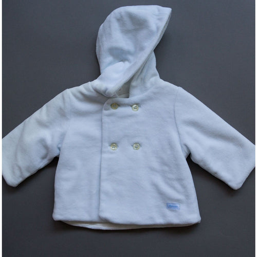 Silvian Heach Bebe - Baby Boys Velour Hooded Coat, Blue - 3M