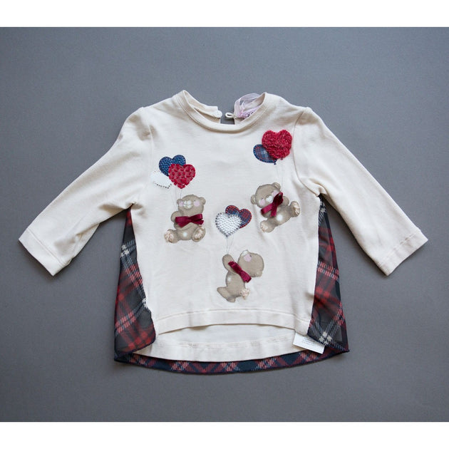 Monnalisa - Girl Jersey Heart Bear Top - 3M