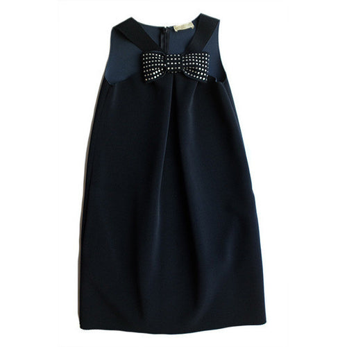 Monnalisa - Girls Neoprene Dress with Bow - Navy - Monnalisa - Dresses - www.kidinvogue.com