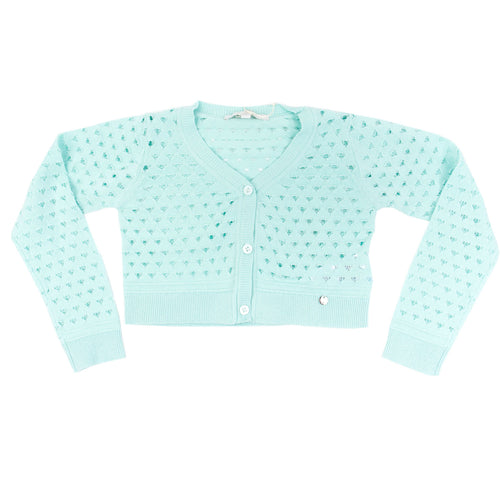 Silvian Heach - Girl Long Sleeve Crop Sweater Shawl Volturino, Aqua