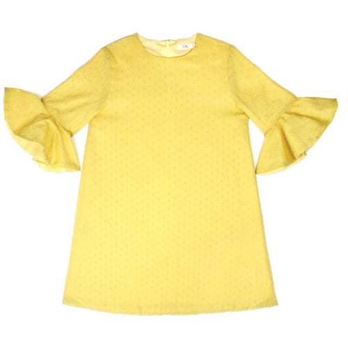 Natty NY - Girls Yellow Swiss Dot Flounce Sleeve Dress - NattyNY - Dresses - www.kidinvogue.com