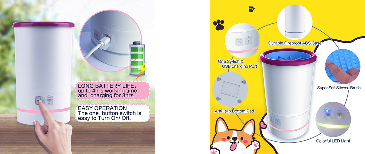 SmartPaw Pet Automatic Paw Washer - Long Battery Life