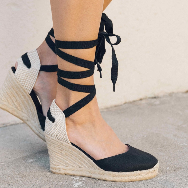 Ankle Strap Canvas Lace-Up Wedge