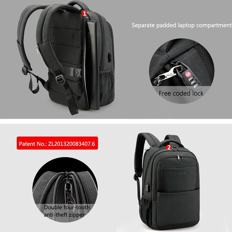 92e1171aac ... brand male mochila 15.6 laptop backpack men usb large travel backpacks  slim waterproof anti-theft ...