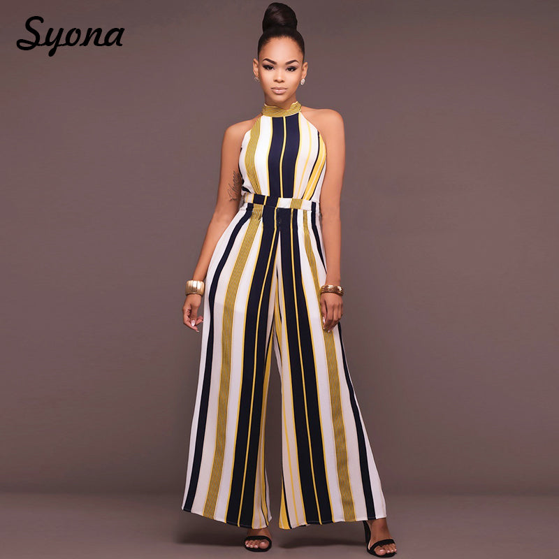 0f74d79b4c8 ... WOMENS Culotte JUMPSUIT ROMPERS Formal Office Party Wide Leg Pants  Elegant Baggy Overalls Striped Palazzo Loose ...