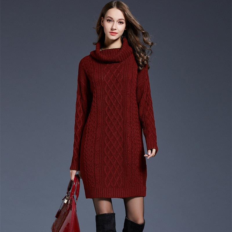 403507e7e31 ... Women Fashion Turtleneck Thick Sweater Dresses Plus Size Casual Sexy  Knitted Cotton Autumn Winter Dress Vestidos ...