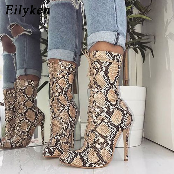 aa2edca7870f New Lace-Up Women Boots Snake Print Ankle Boots High heels Fashion Pointed  toe Ladies