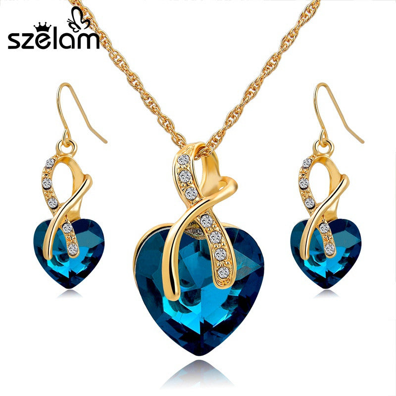 Gold Plated Crystal Heart Necklace/Earrings Jewelry Set  sc 1 st  Edeals123 & Gold Plated Crystal Heart Necklace/Earrings Jewelry Set - edeals123