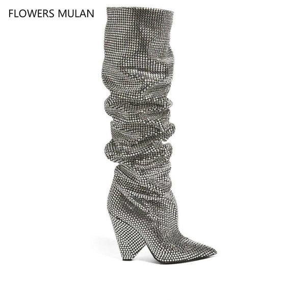 3bddff7a24d New Bling Crystal Embellished Women Knee High boots Spike Heels Pleated  Glittering Stage Tall Boots Pointed