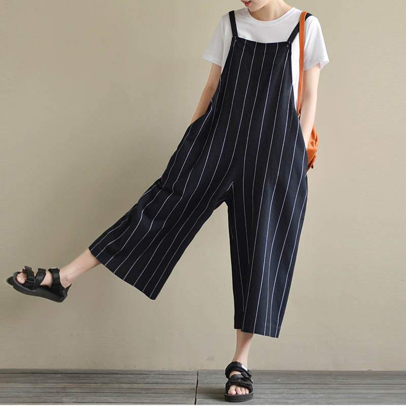 9f969545fd7199 ... Women Autumn Striped Pockets Sleeveless Dungarees Cotton Linen Big  Pants Jumpsuit Baggy Rompers OL Work Overalls ...