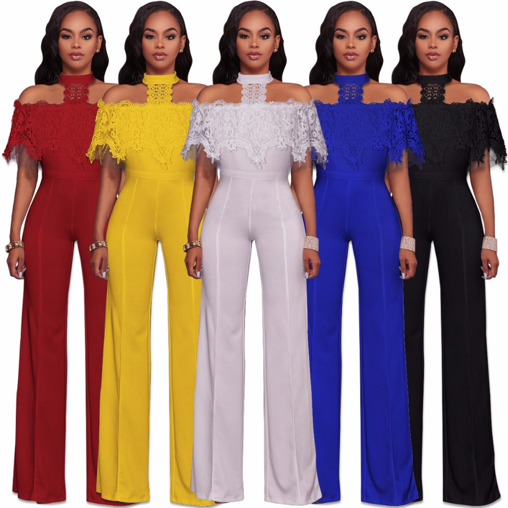 8697ed3408c Halter Neck Lace Ruffles Bodycon Plus Size Full-length Club Jumpsuits  White Red Blue