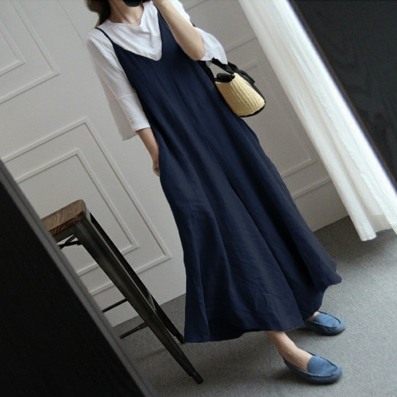 8150799364f ... Wide Leg Pants Women Overalls Linen Jumpsuits Strappy Dungarees Casual  Pockets Long Trousers Baggy Rompers Pantalon ...