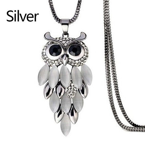 Crystal Rhinestone Owl Long Chain Necklace Stainless Steel Chian Jewelry Nice Fashion Necklaces & Pendants necklace pendant watch