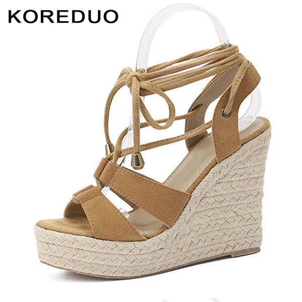 1586063056b Women Gladiator Espadrilles Wedges Sandals Shoes Woman Rome Cross-tied  Pumps Straw Hemp Rope Thick ...