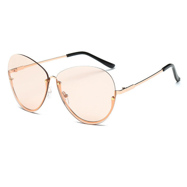 dc8411fd511f ZFYCOL Oversize Ladies Metal Frame Clear Lens Fashion Women Sunglasses