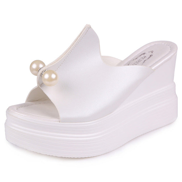 8d2cc58b3435 ... Designer Women Summer Sandals Thick Heel Platform Wedges Sandals Sexy  Beading Slippers Sandalias Slides White Black ...