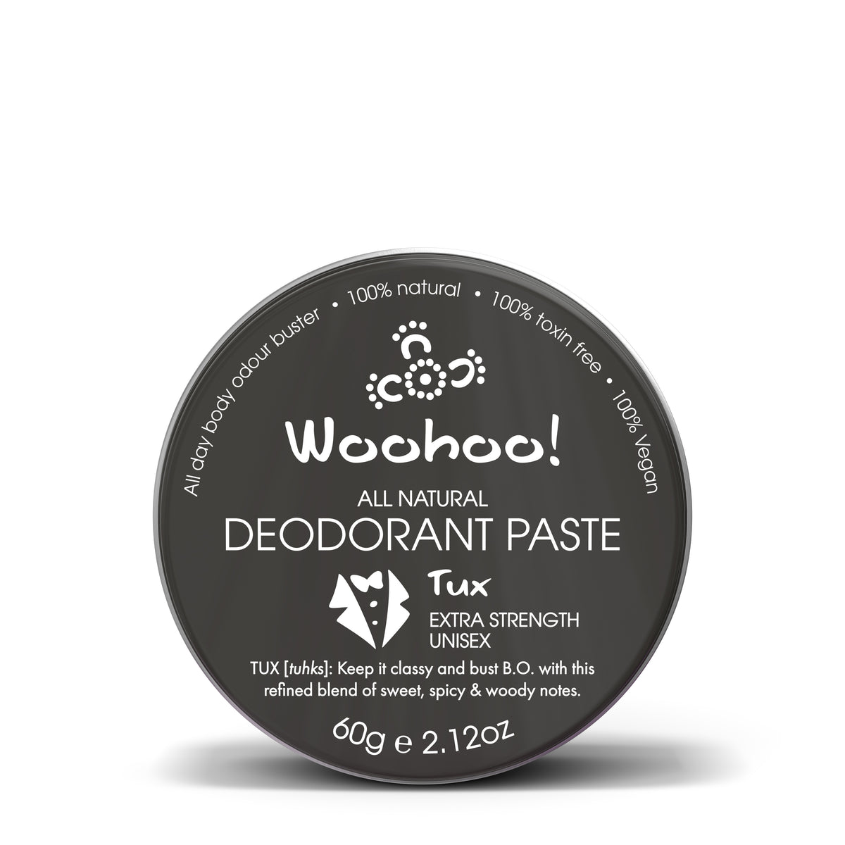 Woohoo All Natural Deodorant Paste (Tux)