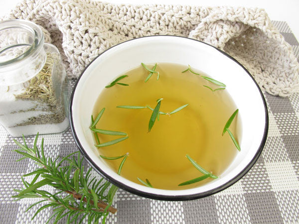 Natural foot soak with rosemary