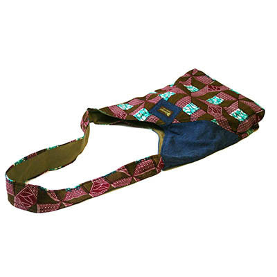 Dsenyo Fair Trade Hip Bag - Purple Aqua Geometric