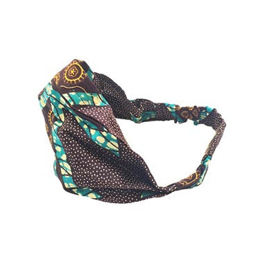 Dsenyo Fair Trade Stretch Headband Small-Aqua Triangles