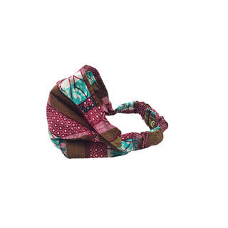 Dsenyo Fair Trade Stretch Headband Small-Purple Geometric