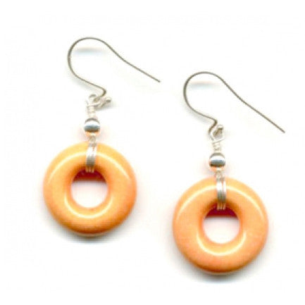 Leakey Collection Porcelain Earrings - Hoop - Mango Orange - Fair Trade - life by U
