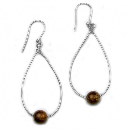 Leakey Collection Earrings Dark Wood and Silver - Fair Trade - life by U