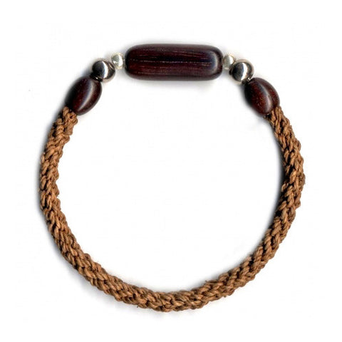 leakey collection raffia bracelet brown with tubular bead
