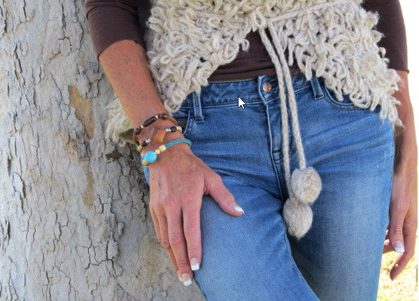 Leakey Collection Raffia Bracelet, Brown with Tubular Bead- Fair Trade