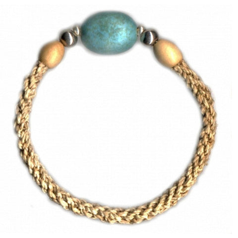 Leakey Collection Raffia Bracelet, Natural with Turquoise Porcelain Bead - Fair Trade