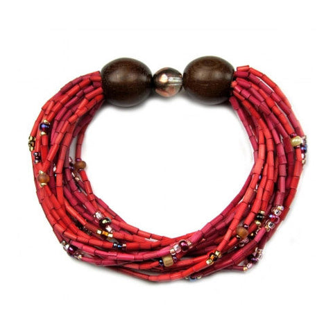 Leakey Collection Multi-Strand Bracelet - Red Hot Crystal- Fair Trade - life by U