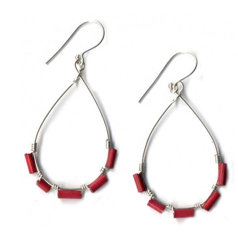 Leakey Collection Earrings Red Zulugrass and Silver - Fair Trade - life by U