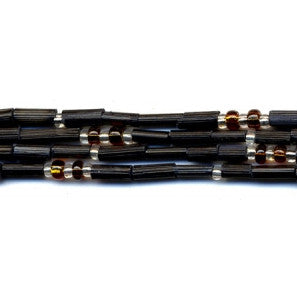 "Leakey Collection 26"" Zulugrass Single Strand- Black  Silver and Amber- Fair Trade"