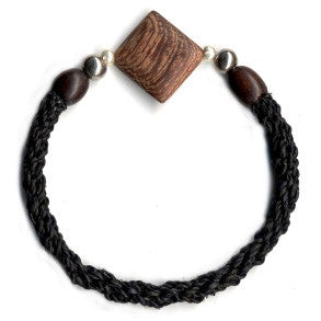 Leakey Collection Raffia Bracelet, Black with Diamond Bead - Fair Trade - life by U