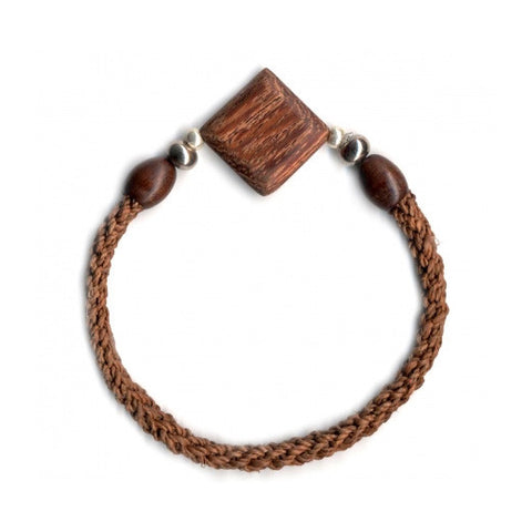 Leakey Collection Raffia Bracelet, Brown with Diamond Bead- Fair Trade