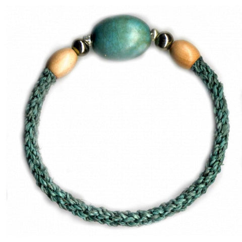 Leakey Collection Raffia Bracelet, Turquoise with Porcelain Bead - Fair Trade - life by U