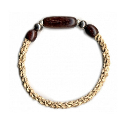Leakey Collection Raffia Bracelet, Natural with Tubular Bead- Fair Trade - life by U