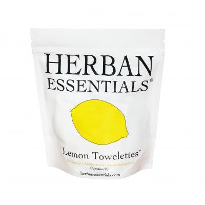 Herban Essentials Towelettes - Lemon 20 ct. - life by U
