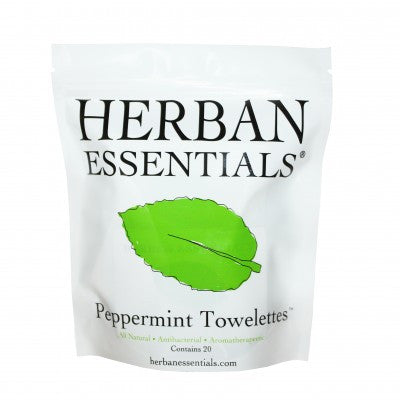 Herban Essentials Towelettes - Peppermint 20 ct. - life by U