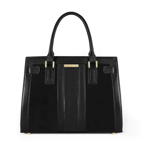 Celina Snake-Embossed Suede and Leather Belted Satchel