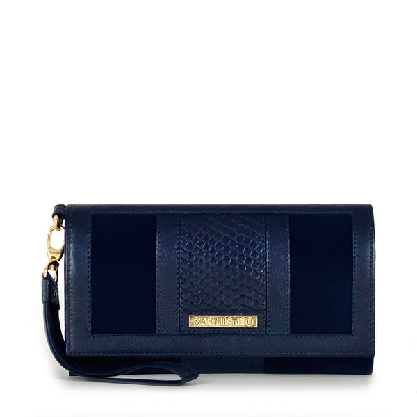 Celina Snake-Embossed Suede and Leather Tri-Fold Wristlet