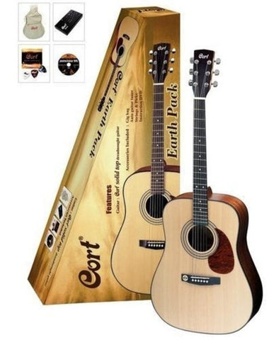 Cort Earth 60 Acoustic Dreadnought Guitar Pack - Open Pore - Somerset Music