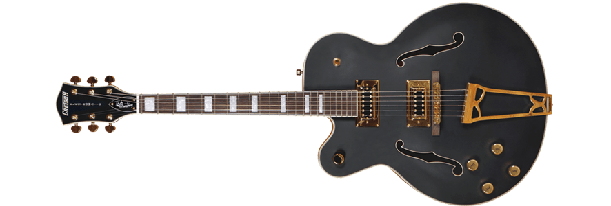 Gretsch G5191BK Tim Armstrong Signature Electromatic Hollow Body, Gold Hardware, Flat Black - Somerset Music