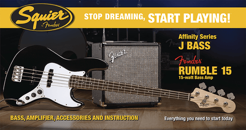 Squier Affinity Jazz Bass Pack (w/Rumble 15 amplifier) - Somerset Music
