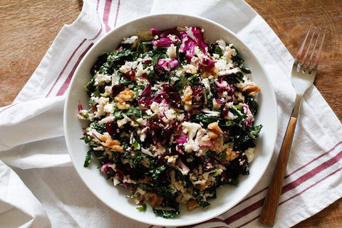 Raw Cauliflower Couscous with Kale