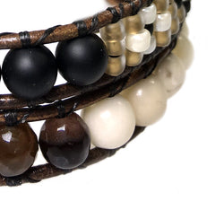 Women's wrap bracelet classic B6 Onyx, Fossil and Facet Agate