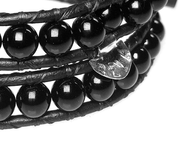 Women's wrap bracelet classic B6 Onyx and Sterling zilver