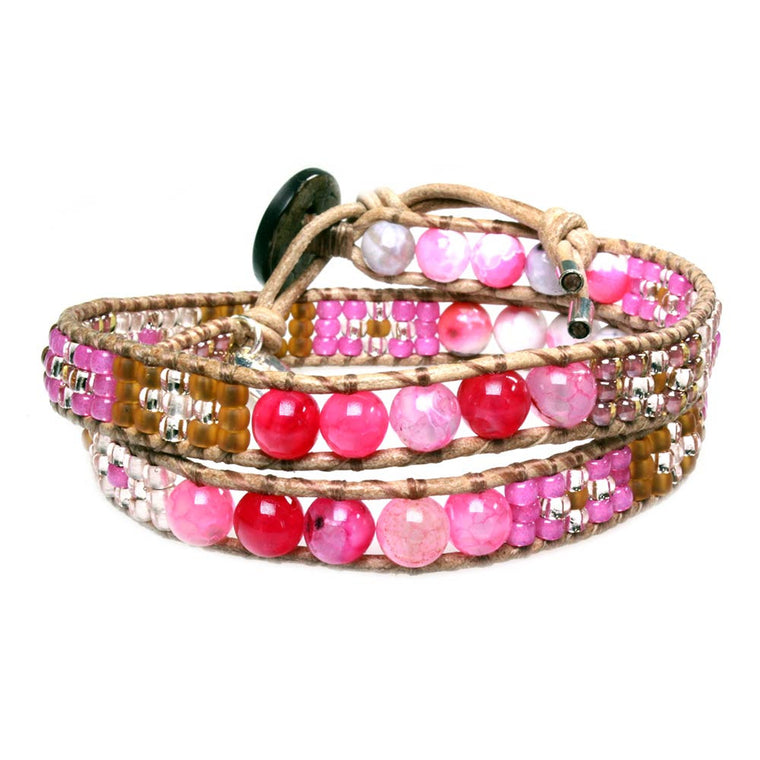 Women's wrap bracelet classic - Pink Agate and Glass